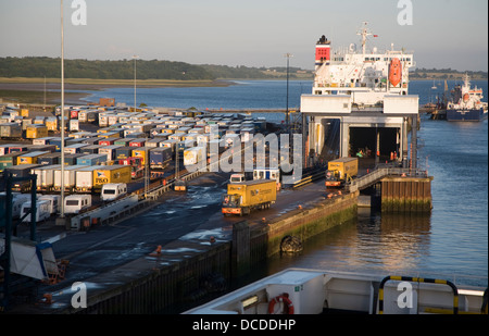 Port activity Parkstone Quay Harwich, Essex, England ferry being unloaded - Stock Photo