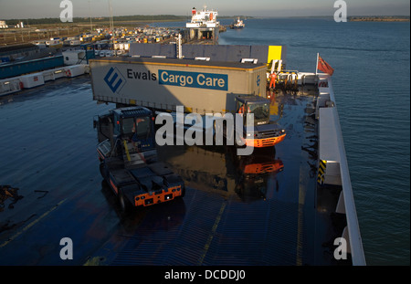 Container cargo being loaded onto ferry Harwich, Essex, England - Stock Photo
