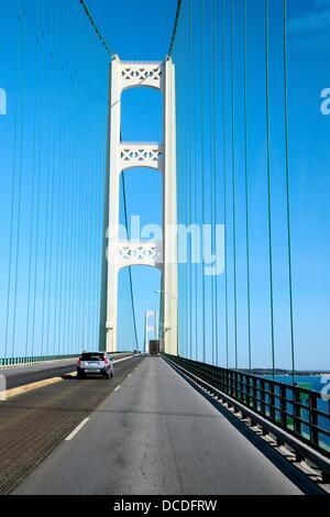 Mackinac/Mackinaw Causeway and Bridge crossing Lake Michigan - Stock Photo