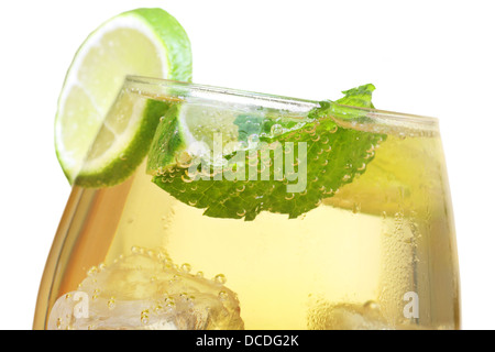 Hugo cocktail, made with elderflower, champagne, soda, lime and garnished with mint. - Stock Photo