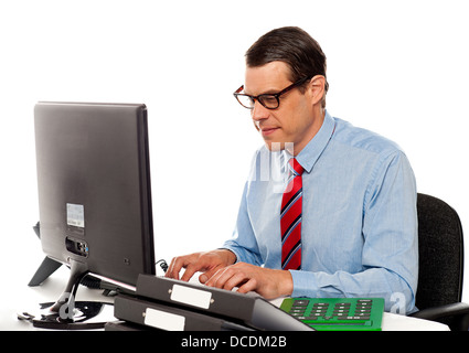 Portrait of an accountant working on computer in office - Stock Photo