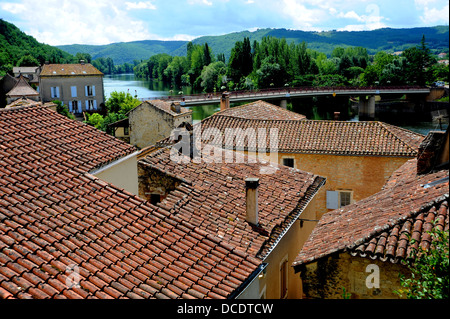 Rooftops at the medieval town of Puy L'Eveque in the Lot Region or Department of South West Midi- Pyrenees area - Stock Photo