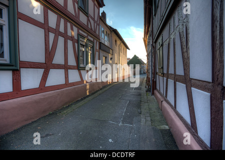 Narrow alley in Seligenstadt, Hessen, a typical small German town not far from the city of Frankfurt. - Stock Photo