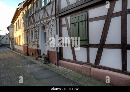 Alley in Seligenstadt, Hessen, a typical small German town not far from the city of Frankfurt. - Stock Photo