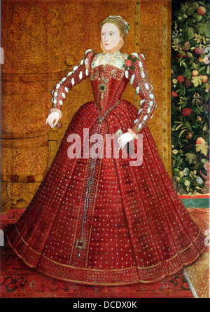 QUEEN ELIZABETH I  (1533-1603)  The 'Hampden' portrait by Steven van der Meulen, about 1563 - Stock Photo