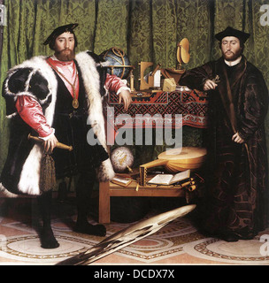 HANS HOLBEIN THE YOUNGER's  1533 portrait of Jean de Dinteville and Georges de Selve known as The Ambassadors - Stock Photo