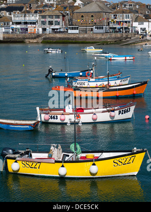 Boats in St Ives harbour, Cornwall - Stock Photo