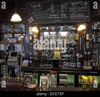 Bar area inside The Anchor Tap Samuel Smiths Pub Southwark London - Stock Photo