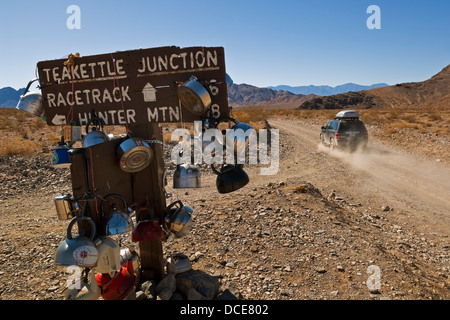 Teakettle Junction sign, on dirt road enroute to the Racetrack, Death Valley National Park, California - Stock Photo