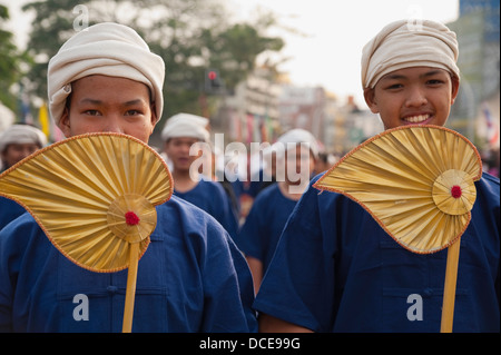 Marching In Flower Festival, Chiang Mai, Thailand - Stock Photo