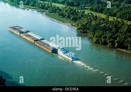 USA, Louisiana, Atchafalaya Basin area, Intracoastal Waterway west of Morgan City, westward-bound tugboat pushing - Stock Photo
