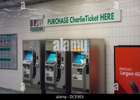 commuters on the Boston MA T subway Stock Photo