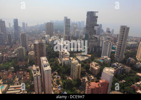 November 2, 2010 - Mumbai, Maharashtra, India - Ariel view of the Skyline of  Mumbai. As the Indian Economy continues - Stock Photo
