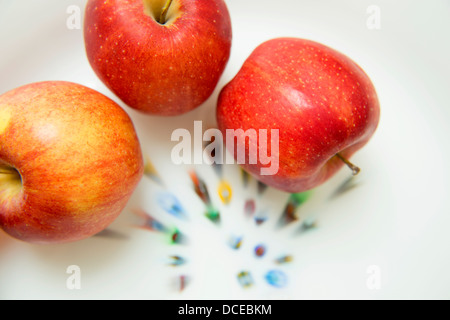 Three organic apples - Stock Photo