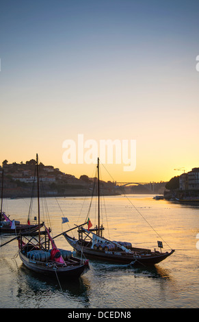 old town river area of porto in portugal at sunset - Stock Photo