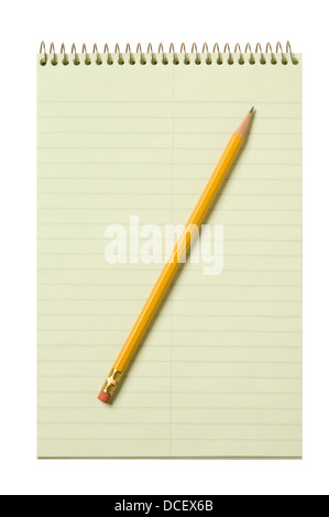Stenographer's pad flat with a yellow pencil isolated against white background - Stock Photo
