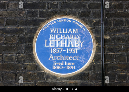 glc blue plaque on a building for william richard lethaby London England UK - Stock Photo