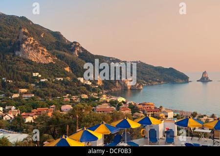 Agios Gordios beach at Corfu island in Greece - Stock Photo
