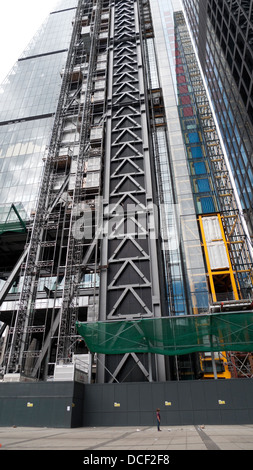 Low angle view of the Leadenhall Building or Cheesegrater skyscraper under construction of building London UK KATHY - Stock Photo