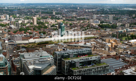Aerial cityscape skyline view of Shoreditch High Street Station, Hoxton & East London, London looking north from - Stock Photo