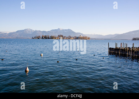 Frauenchiemsee in late sunlight - Stock Photo