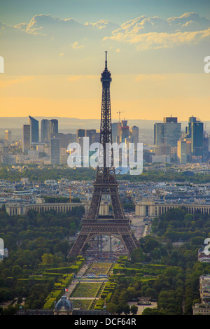 Eiffel Tower at sunset seen from Tour Montparnasse, Paris, France - Stock Photo