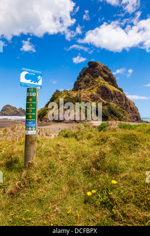 Piha Beach and Lion Rock, Auckland Region, New Zealand. Although this is a very popular beach it has some dangers... - Stock Photo