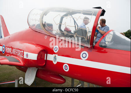 Eastbourne, Sussex, England. 15th Aug, 2013.  Hawk T1A aircraft of The Red Arrows RAF aerobatic team on static display - Stock Photo