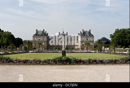 The Palais du Luxembourg in Paris, where seats the French Senate, view from the Jardin du Luxembourg - Stock Photo