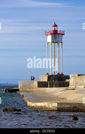 Port-Vendres jetty and lighthouse,Roussillon, Pyrenees Orientales, Vermilion coast, France - Stock Photo
