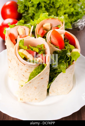 Selective focus on the front tortilla sandwiches - Stock Photo