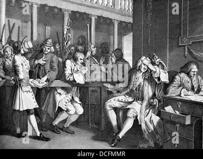 Industry And Idleness, The Industrious Prentice, Plate 10.From the original works by William Hogarth. - Stock Photo