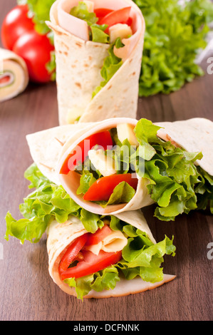 Selective focus on tortilla wrap in the middle - Stock Photo