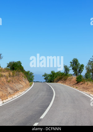 Tree-lined road with central markings disappearing in to the distance - Stock Photo