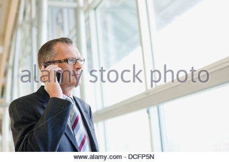 Businessman talking on mobile phone by window - Stock Photo