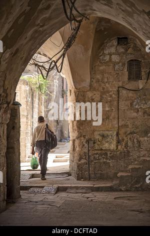 old town street in jerusalem in israel - Stock Photo