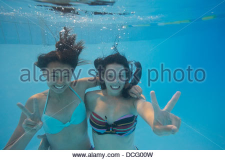 Teen girls giving hand signs underwater - Stock Photo