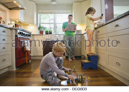 Family morning in the kitchen - Stock Photo