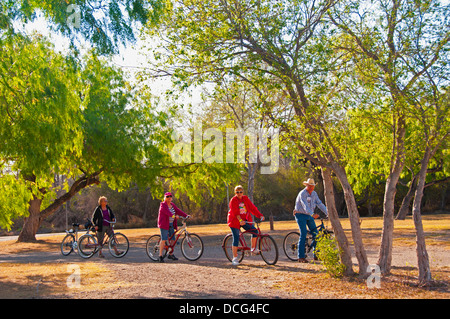 Bicycling on a trail at Bentsen-Rio Grande Valley State Park, Mission, Texas - Stock Photo