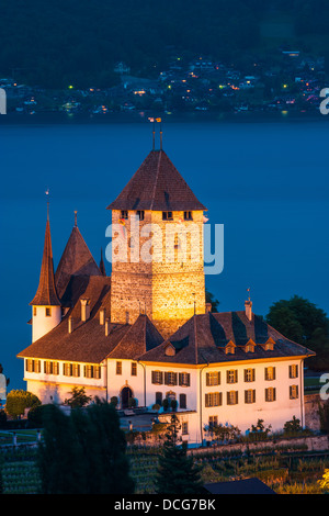 The castle at Spiez looking out over Lake Thun, Switzerland. - Stock Photo