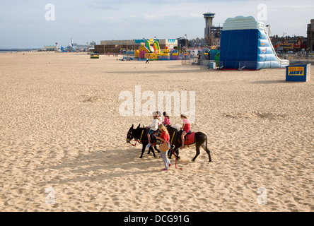 Donkey rides on the beach Great Yarmouth, Norfolk, England - Stock Photo