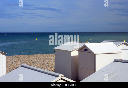 Beach huts and beach from Esplanad du General Leclerc, Mers Les Bains, Somme, Picardy, France - Stock Photo