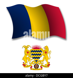 chad shadowed textured wavy flag and coat of arms against white background, vector art illustration - Stock Photo