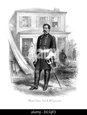 Vintage Civil War print of General George McClellan at Camp Seminary. - Stock Photo