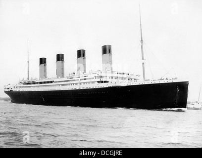 Digitally restored vintage maritime history photo of the RMS Titantic departing Southampton on April 10, 1912. - Stock Photo