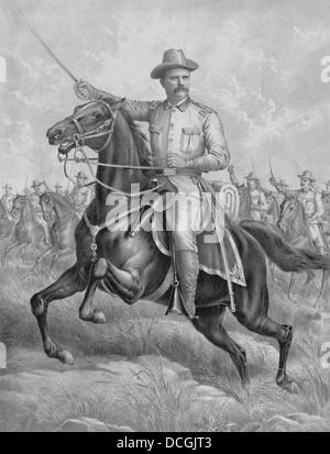 Digitally restored print of Colonel Theodore Roosevelt on horseback. - Stock Photo