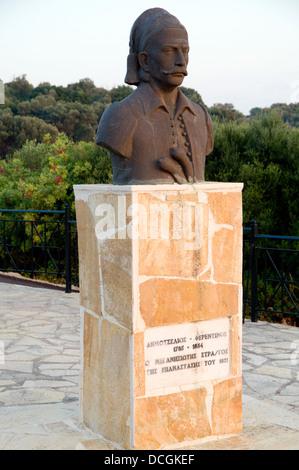 Statue of Demos Tselios (Demetrios or Demos Ferentinos) fighter of the 1821 Greek revolution, Meganisi Island, Lefkas, - Stock Photo