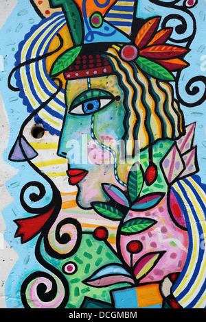 Berlin Wall graffiti - Stock Photo