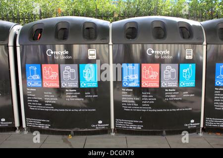 Recycle bins Westminster London England UK - Stock Photo