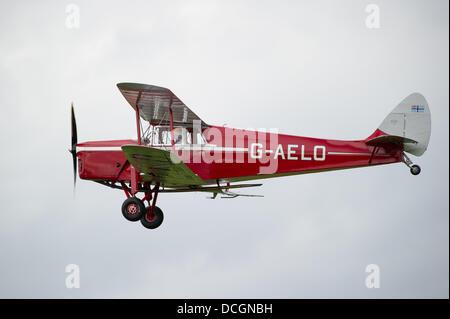 Woburn Abbey, Bedfordshire, UK - 17 August 2013. A Hornet Moth in flight at the de Havilland Moth Club's 28th International - Stock Photo